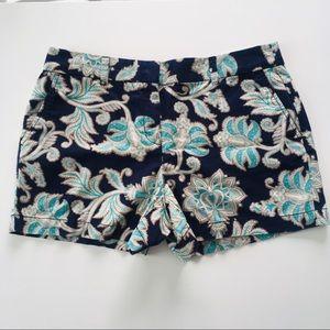 LOFT Navy Floral Patterned Shorts